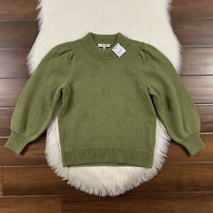 Madewell Women's Size XS Vintage Moss Eaton Dotted Puff Sleeve Sweater Top