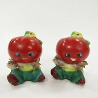Vintage Anthropomorphic Tomato Head People Salt Pepper Shaker Set Japan INV265