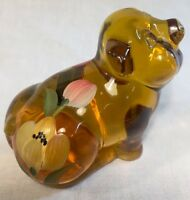 Fenton Art Glass  Handpainted Golden Tulips On Autumn Gold Pig