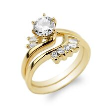 10K/14K Yellow Gold Beautiful Set for Women Round CZ Ring Size 4-9