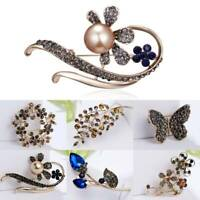 Fashion Women Crystal Pearl Flower Butterfly Gold Badge Brooch Pins Jewelry Gift