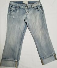Maurices Womens Jeans Distressed Light Wash Cuffed Capris Size 3/4