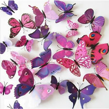 24 pcs 3D Butterfly Art Design Decal Wall Sticker Ho Bedroom Home DIY Purple