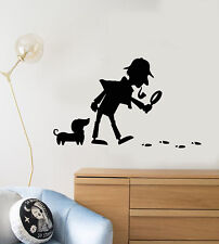 Vinyl Wall Decal Cartoon Detective Snoop Dog Footprints Stickers (2112ig)