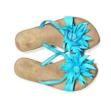 Lazamani Womens 40 Blue Leather Sandals Flip Flops Thongs Flower Embellished