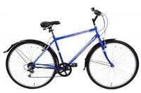 "METROPOLITAN 700C WHEEL MENS 6 SPEED 22"" FRAME BLUE HYBRID CITY BIKE & MUDGUARDS"