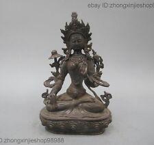 8 china Tibet old Pure Bronze copper White Tara Kwan-Yin Buddhism statue