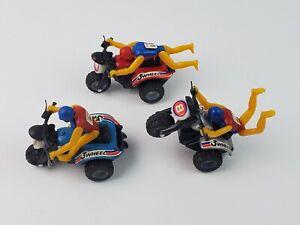Set 3 Vintage 3-Wheeler Motorcycle die cast pull-back toys red blue silver