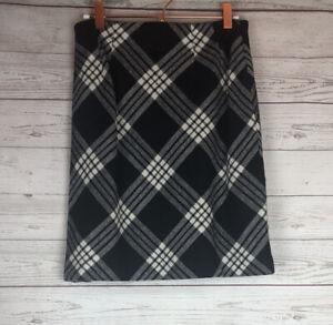Talbots Size Black White Wool Blend Plaid Pencil Skirt Lined Size 0P Petite