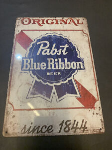 RETRO VINTAGE LOOK Pabst Blue RIbbon - Since 1844 Metal Weathered Sign Man Cave