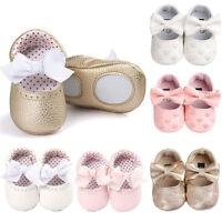 Recién Nacido Bebe Niña Suelas blandas cuero Cuna Zapatos antideslizante