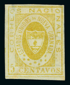 COLOMBIA 1860  Arms of New Granada   5c yellow  Scott # 14  mint MH