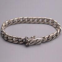 Solid 925 Sterling Silver Men's Bracelet Gent 8mm Curb Link Bracelet 6.9inch New