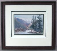 M A McMULLAN__Watercolor__Mountain Stream__Matted/Framed/Signed__ExC__SHIPS FREE