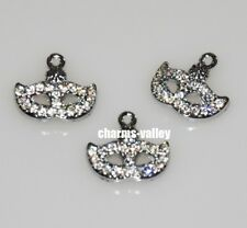 10PCs Full Rhinestone Face Mask Pendant Hang Charms DIY Necklace Keychain Strips