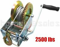 2500lbs Dual Gear Hand Winch Hand Crank Manual  Boat ATV RV Trailer 33ft Cable