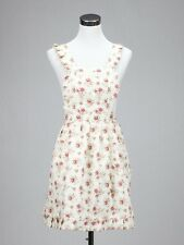 Vintage style Cotton Apron Red Pink Roses Cream Shabby Chic Retro cottage- New