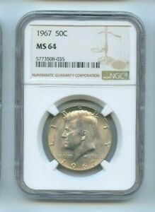 USA United States Half Dollar Silver J.F Kennedy 1967 NGC Ms 64 N° 5