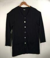 J Jill Women's Size XL Cardigan Sweater Black Button Front Long Sleeve