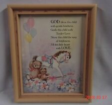 1988 Home Interiors Homco Pink Framed Picture God, Bless This Child Bears, Horse