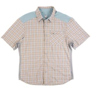 Club Ride Men's L Snap Button & Zip Cycling Shirt Short Sleeve Green Plaid MTB