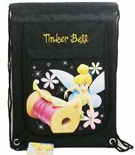 Tinkerbell Black color Drawstring Backpack School Sport Gym Bag