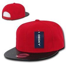 Red & Black Solid Blank Flat Vinyl Bill Snapback Hip Hop Baseball Ball Cap Hat