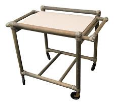Vintage Boho Chic Tiki Bar Cart With Detachable Laminate Topped Serving Tray