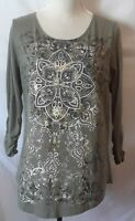 Kim Rogers Womens Top Size XL Olive Green Patterned Front 3/4 Ruched Sleeve
