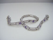 "Tennis Bracelet 7.5"" Signed Hmi Beautiful Sterling Silver Amethyst Cz"