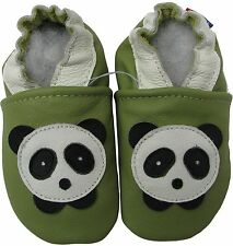 carozoo panda green 18-24m soft sole leather baby shoes