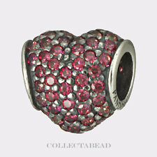 Authentic Pandora Sterling Silver Red CZ Pave Heart Bead 791052CZR