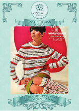 Vintage crochet pattern-1960s fab mod Mary Quant crochet long knee socks & top