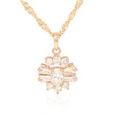 Wedding Rose Gold Filled White Crystal Flower Pendant Free Shipping