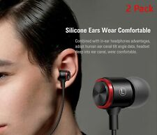 2 Pack-Surrounded Heavy Bass Metal Earphone for iPhone/Android all phone (Black)