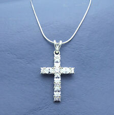 "CZ Cross 925 Sterling Silver Charm Pendant w 20"" Chain Cubic Jesus Mother Day"