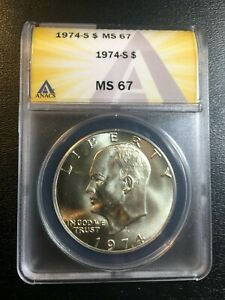 1974 S EISENHOWER DOLLAR ANACS MS-67 - UNCIRCULATED - SILVER - CERTIFIED SLAB -$
