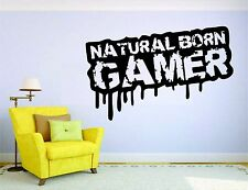 Gamer Wall Mural Sticker Decal Vinyl Decor Natural Born Video Game Player
