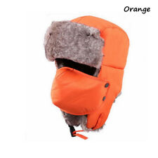 Outdoor Unisex Men Winter Trapper Aviator Trooper Warm Ski Hat With Mask Orange