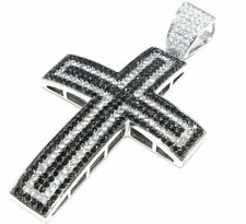 1 Ct White & Black Sim Diamond Mens Cross Pendant 14K White Gold Plated Silver