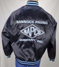 Vintage Black Embroidered Satin Snap Jacket BAPCO Bannock Paving Company Size M