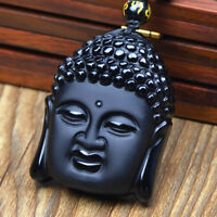 Obsidian Carved Buddha Amulet Pendant Necklace 100% Blessing Handmade energy