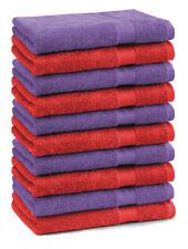 Betz 10 Toallas de cara 30x30cm PREMIUM 100% algodón en rojo y morado