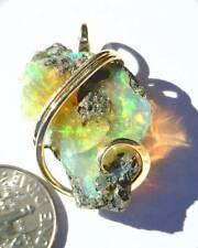 23.97ct African Crystal Opal in 14kt Gold Art Wire Wrap Pendant