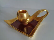 RARE Antique PORCELAIN Gilded Gold CANDLE HOLDER  PIPE Germany