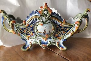 French MAJOLICA Jardiniere Center Piece FRANCE Sailing Ship Hand Painted Faience