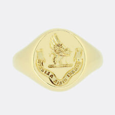 Gold Signet Ring- Oval Intaglio Signet Ring 18ct Yellow Gold