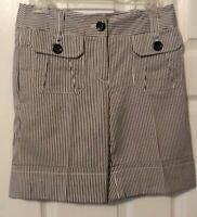 Etcetera Women's Shorts Black and White Striped Bermuda Shorts Size 0