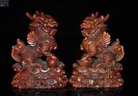 China Boxwood wood Feng Shui animal Kylin Chi-lin Qilin Beast statue a pair
