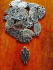 Antique Silver Owl Charms / Pendants x 20